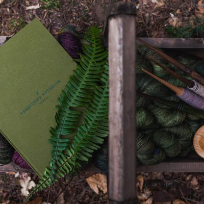 Observers Notebook: Trees, in a wooden trug with spindles and ferns on the forest floor