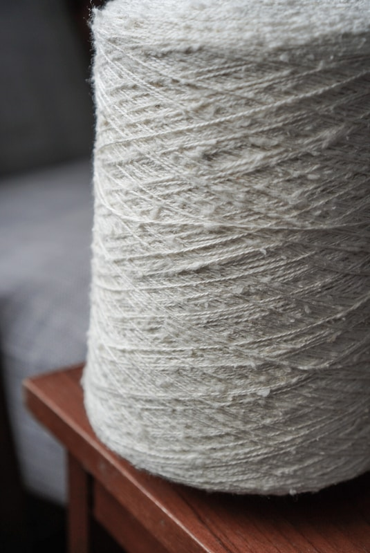 Cone of slub silk weaving yarn