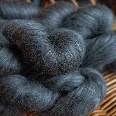 Grey spinning fibre.